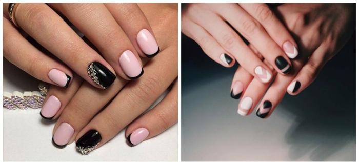 diseños encantadores en rosado, negro y blanco, tendencias minamalistas, como hacer manicura francesa 2018