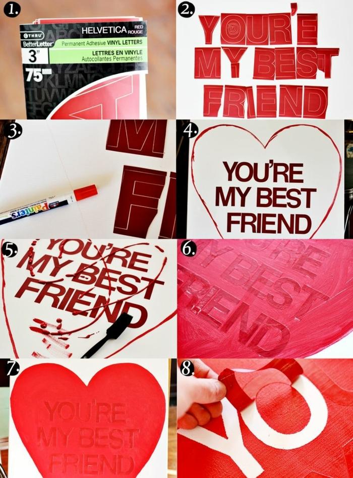 pasos para hacer un cuadro decorativo con corazon y letras, ideas para regalar a una amiga