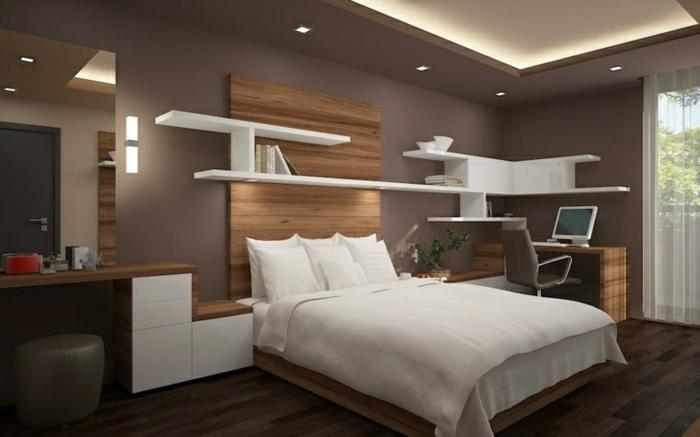 decoracion de dormitorios con paredes en color chocolate, cama con sábanas blancas y suelo de parquet