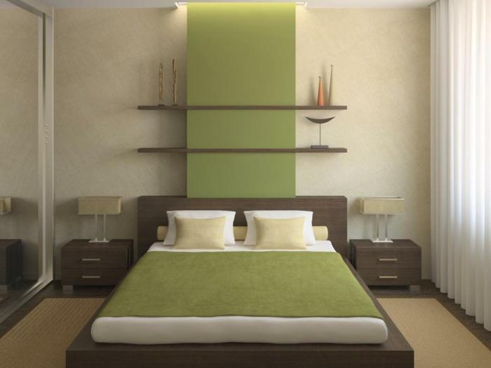decoracion de habitaciones matrimoniales con paredes en color beige, cama en marrón con pared en verde