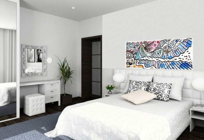 decoracion economica del dormitorio con cama blanca con encimera de cuero y con cuadro de colores encima
