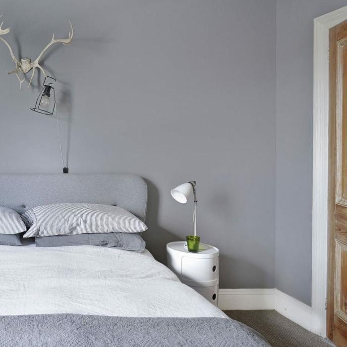 como decorar una habitacion pequeña en blanco y gris, dormitorio moderno en estilo minimalista