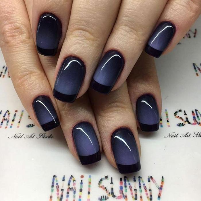 alucinante diseño en azul oscuro y negro, como hacer manicura francesa según las últimas tendencias