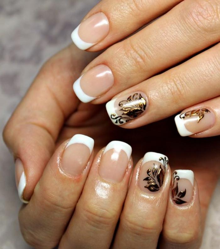 como hacer manicura francesa con decorado de motivos florales, uñas largas cuadradas decoración en dorado