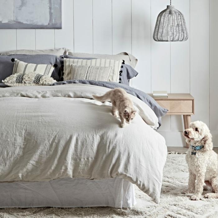 como decorar una habitacion en colores claros y neutrales, preciosa decoración en las tonalidades del gris