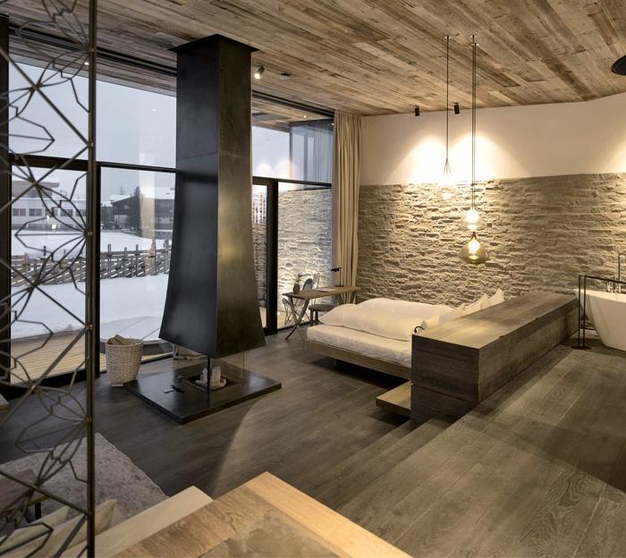 decoracion de dormitorios matrimoniales de encanto con bonita vista, suelo de parquet, lámparas colgantes