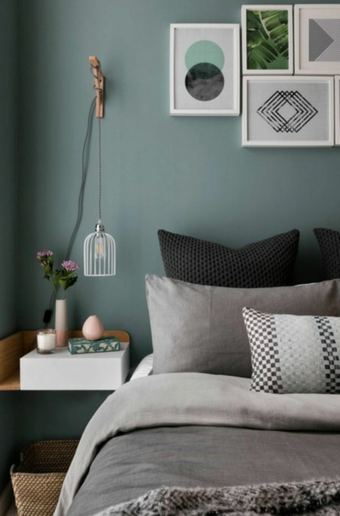 decoracion de dormitorios matrimoniales en colores modernos 2018, cuadros decorativos pequeños