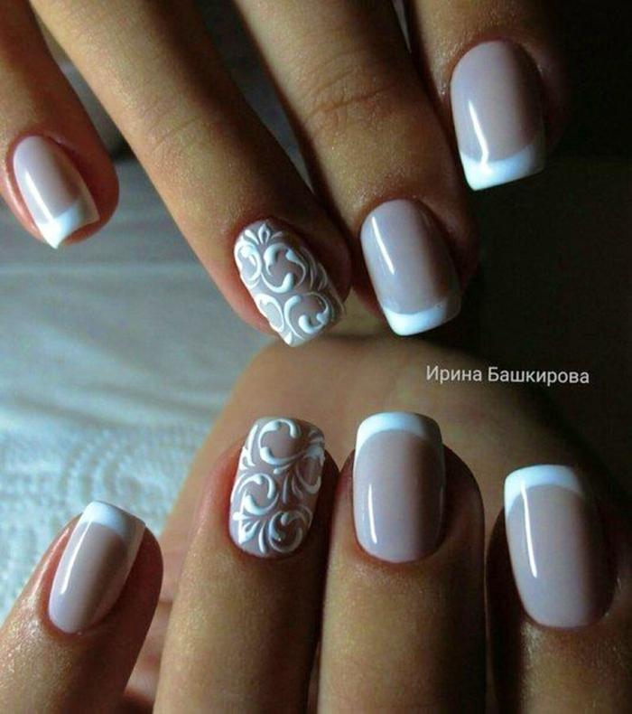 uñas decorado con encaje, uñas en gel decoradas en blanco y beige, decoración con elementos florales