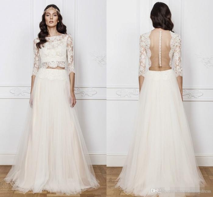 diseño espactacular de vestido de tul y encaje con espalda descubierta, vestido de dos piezas