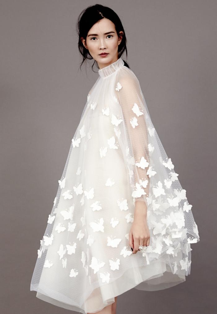 diseño extravagante con estampados de mariposas, ropa ibicenca mujer 2018, vestido de tul
