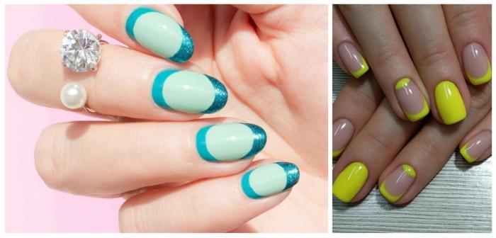 diseños coloridos de uñas francesas para el verano, uñas acrilicas decoradas en verde menta, azul y amarillo neón