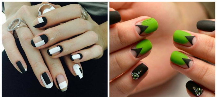 decorado de uñas con elementos gráficos, uñas largas en blanco y negro, uñas en verde chillón y negro