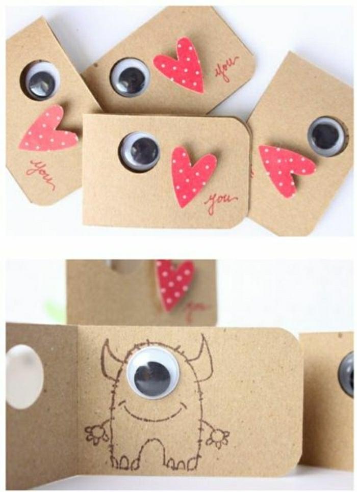 preciosas tarjetas DIY, ideas sobre que le puedo regalar a mi mejor amiga, tarjetas con corazones y monstruos