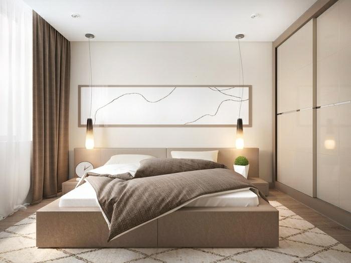 dormitorio gris y blanco con paredes en color crema, con cama de madera con encimera de cuero y lámparas