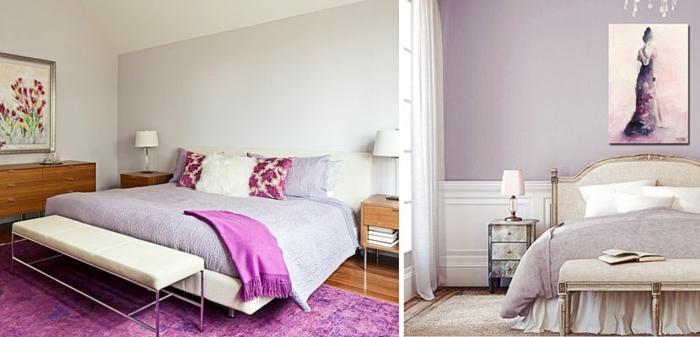 dormitorio gris y blanco, dormitorio en colores lila pastel, lila oscuro y techo blanco, con cuandros de flores y mujer