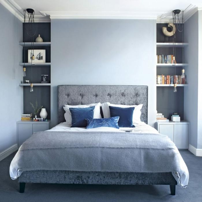 decorar habitacion matrimonio pequeña decorada en gris y azul, combinacion de colores de encanto