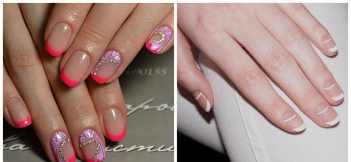 ideas de decorado de uñas moderno, uñas francesas con rayas horizontales en blanco, uñas con línea en rojo fuego