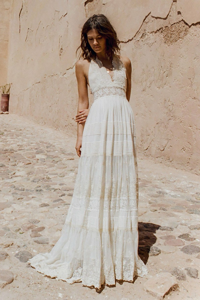 vestido color champán en estilo ibicenco, vestido ibicenco boda para novias 2018 2019