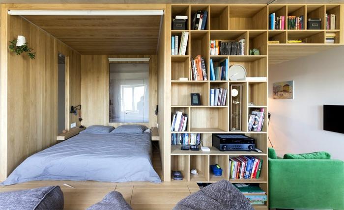 como decorar una habitacion de matrimonio moderna ideas super originales, cama doble estantería de madera