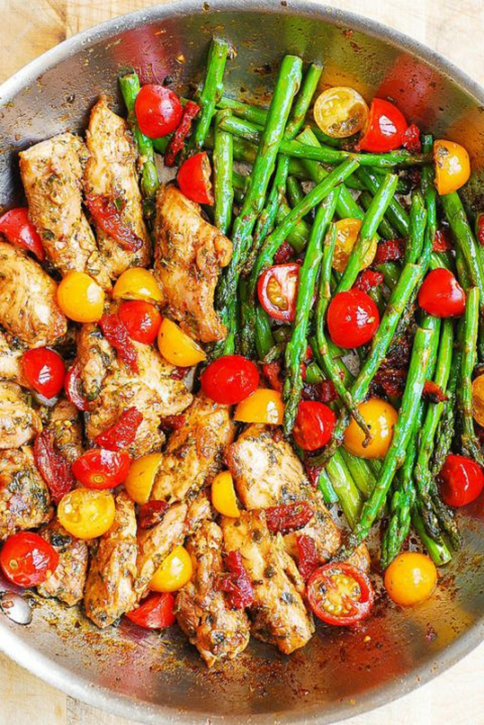 alitas de pollo con esparragos y tomates cherry, fotos de recetas de cocina faciles y rapidas