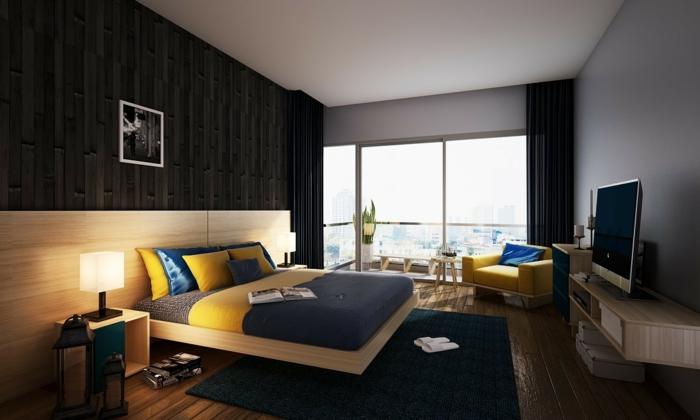 feng shui dormitorio con paredes en color gris, cama de madera con cabecera larga y co sábanas en amarillo y azul