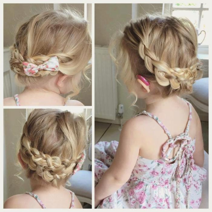 moños con trenzas, niña pequeña con el cabello rubio con una cinta de tela en blanco y rosa con vestido floral
