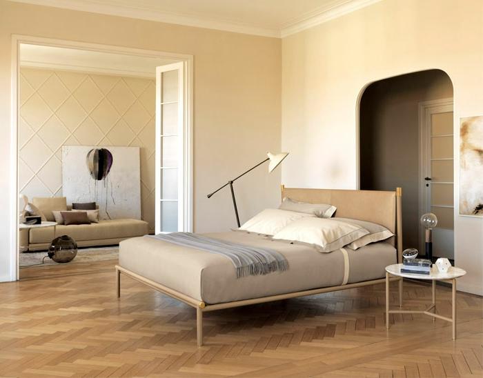 como decorar una habitacion de matrimonio moderna abierta al salón, preciosa decoración en beige
