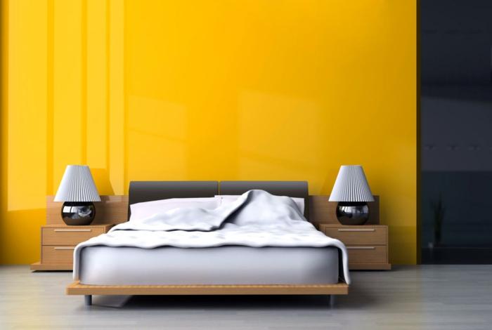 como decorar una habitacion de matrimonio moderna en estilo minimalista, colores llamativos