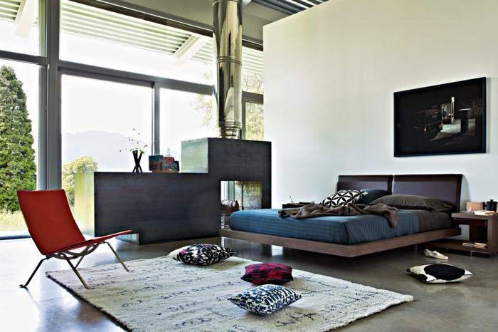 precioso dormitorio abierto al salón, estudio moderno estilo contemporáneo, grandes ventanales