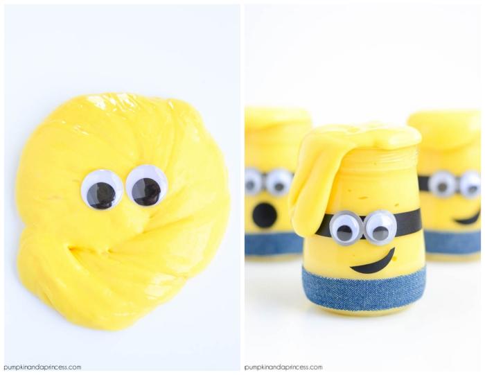 ideas divertidas manualidades para niños, slime en color azul vertido en tarro de vidrio, como hacer slime sin borax
