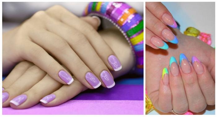 diseños de uñas para el verano, uñas de forma cuadrada y uñas muy largas afiladas en colores llamativos
