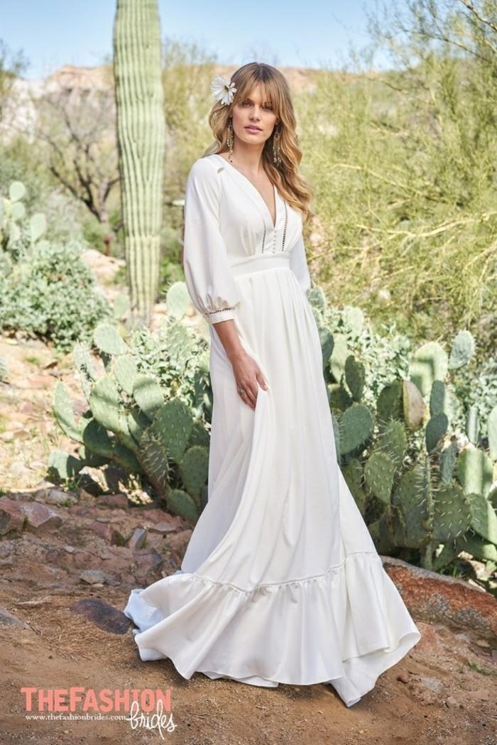 precioso propuesta de satén en blanco nuclear, vestido ibicenco boda corte flamenco