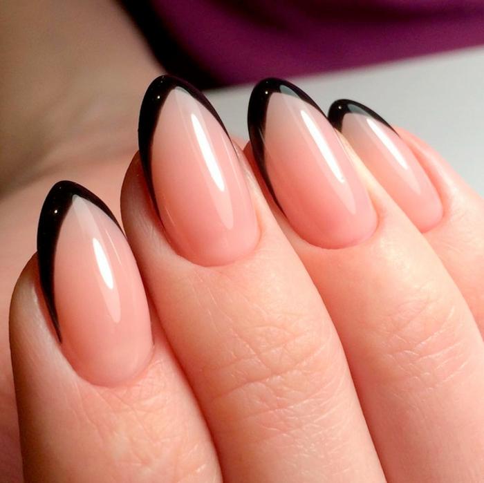preciosas uñas largas afiladas con puntas en negro, uñas manicura francesa tendencias 2018
