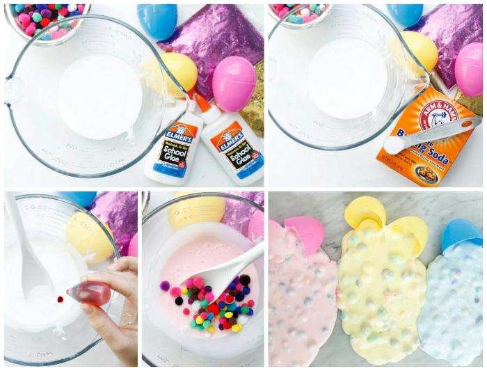 como se hace slime paso a paso, ideas de decoración para pascua, huevos de pascua llenos de slime