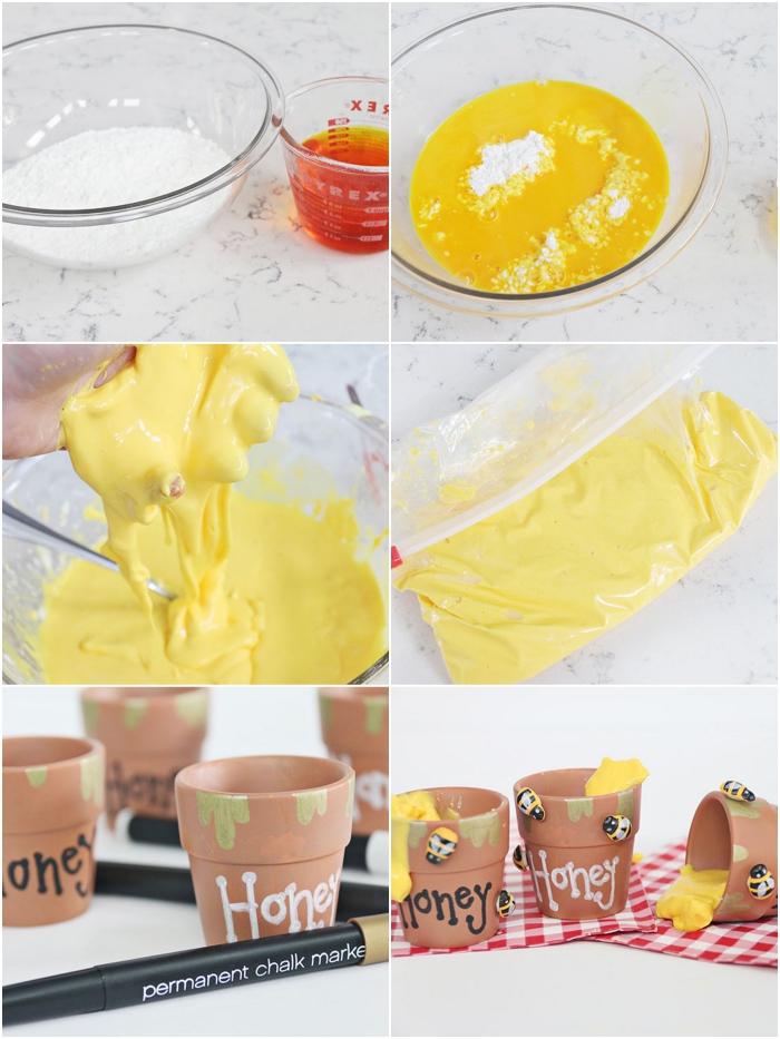 pasos para hacer slime casero para decorar la casa, slime en color amarillo para decorar pequeñas macetas