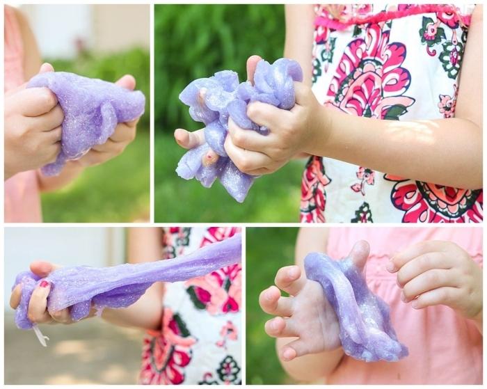 divertidas ideas de manualidades para los pequeños, como hacer slime paso a paso, slime en color lila