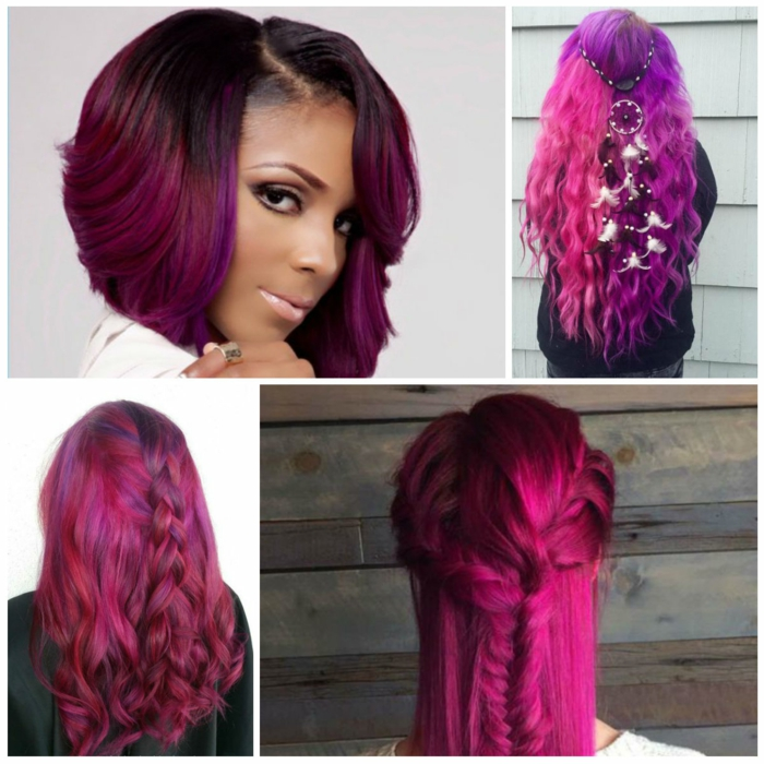 mechas o reflejos en pelo oscuro ideas de pelo morado tendencia del 2018, cuatro fotos con ideas de peinado