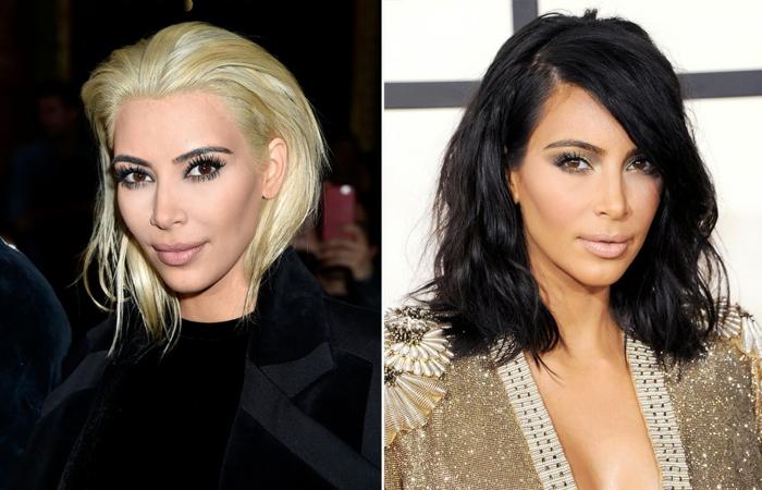 mechas para pelo castaño, Kim Kardashian dos look totalmente diferentes, rubia y negra, melena media