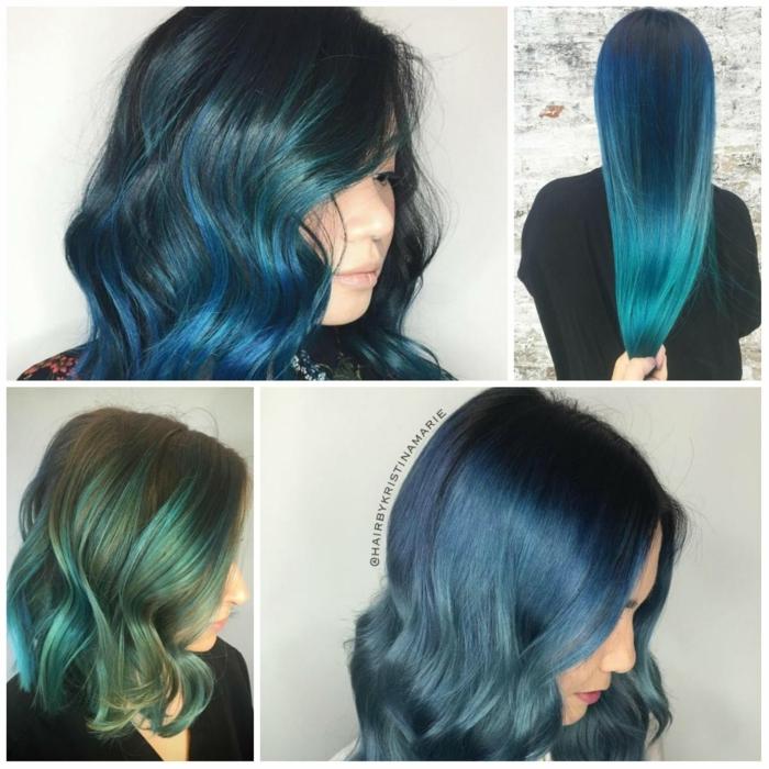 mechas rubias en pelo moreno color de pelo de chicas, color de pelo denim o azul, actual para 2018