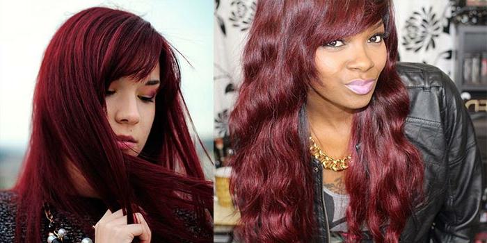 mechas rubias en pelo moreno, chicas morenas con pelo rojo borgoña, que les queda de maravilla