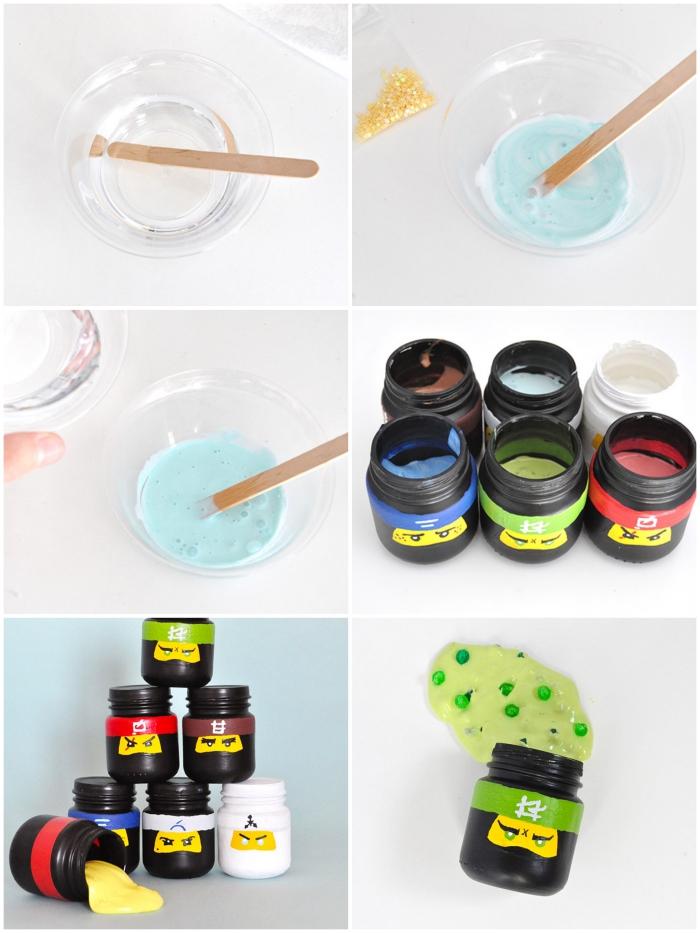 pasos para preparar slime casero, tarros de plástico decorativos, ideas de manualidades originales