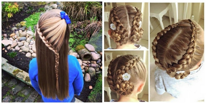 peinados con trenzas fáciles, ideas de como hacerse trenzas en el pelo en moño o sueltasm decoracion con cintas