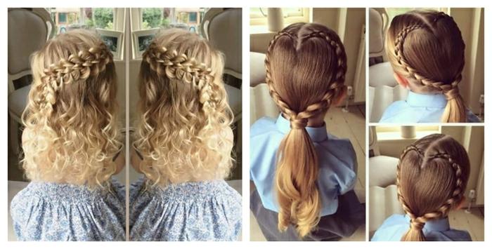 peinados de niñas faciles, dos ideas de peinados de niña con trenzas hechas en forma de corazón en coleta