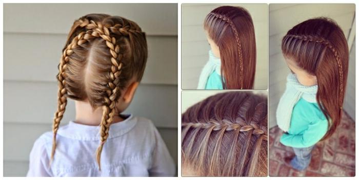 peinados de niñas faciles, dos ideas de como peinar a tu hija con trenzas, pelo largo con trenza fina