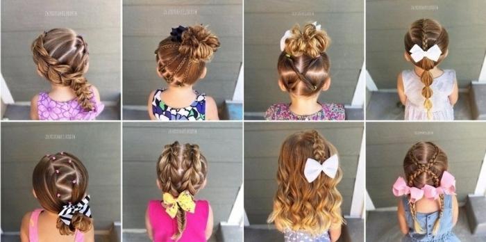 peinados faciles media melena, ocho peinados de niñas con coletas, trenzas y moños con cintas de colores