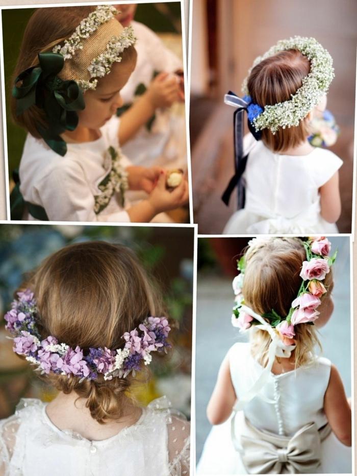 peinados faciles para niñas, cuatro ideas de peinados para niñas para la comunion con cintas y diademas de flores