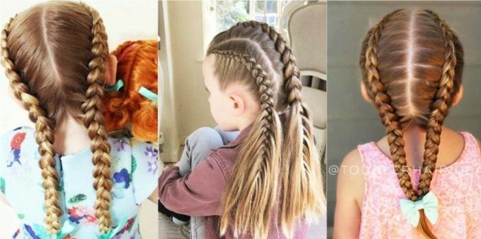 peinados faciles y bonitos de niñas con trenzas en pelo largo en la parte trasera, tres ideas fáciles de hacer
