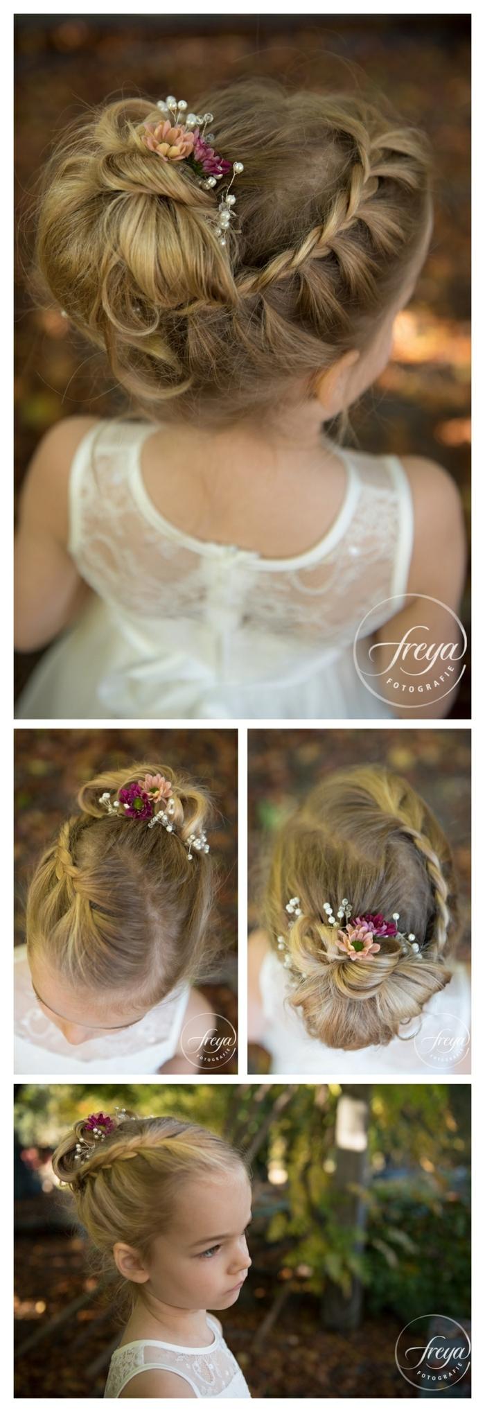 peinados faciles y bonitos, foto con niña con el peinado para la comunión decorado con flores