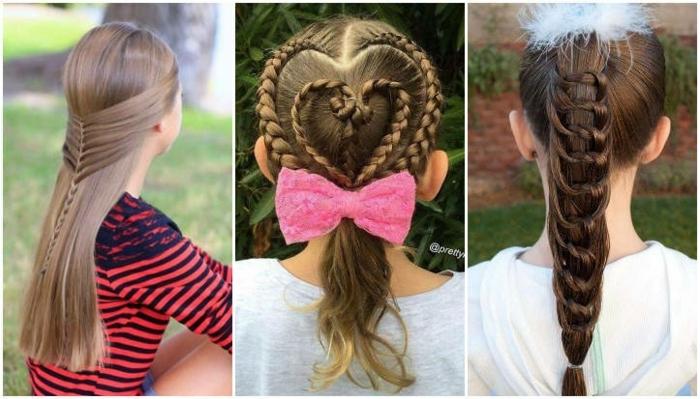 peinados faciles y bonitos, tres ideas de peinados para niñas más grandes, peinado de trenzas en forma de corazón