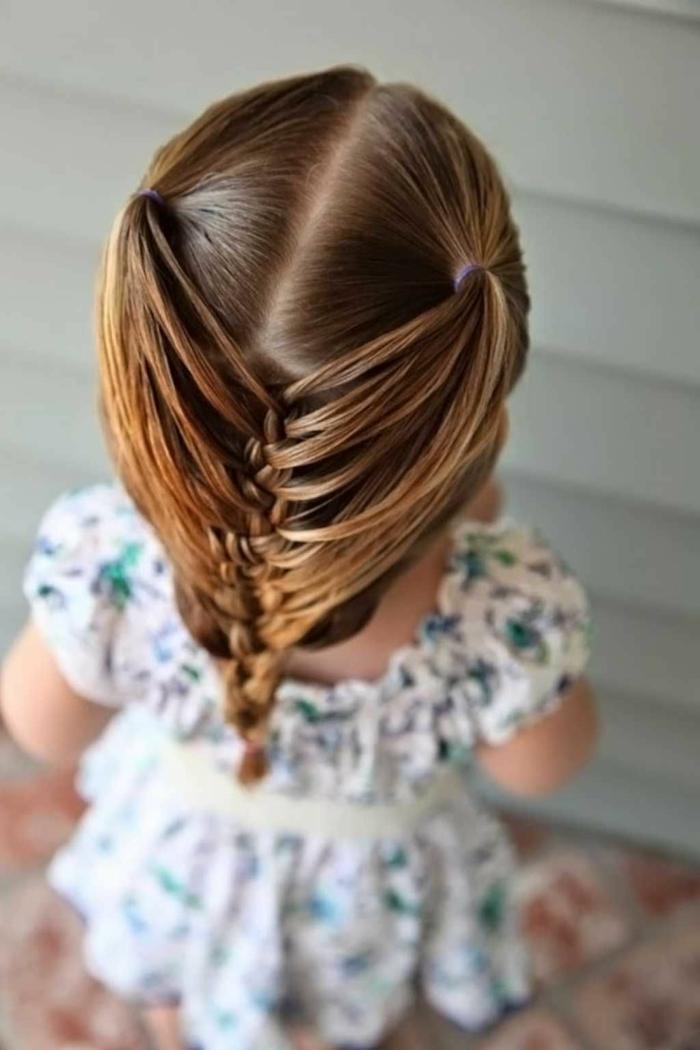 peinados para niñas de comunion, niña vista desde la parte de atrás con trenzas en la parte trasera